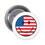 USA Flag Smiley Happy Face Pins