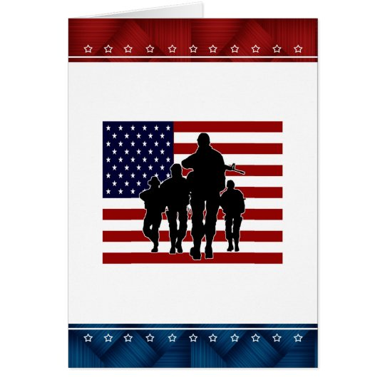 USA Flag Soldier Silhouette Blank Card