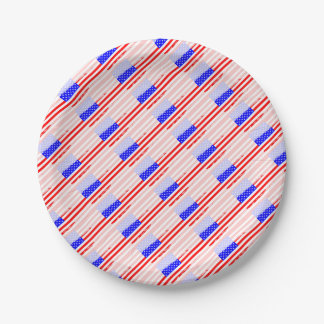 USA Flag Splash 7 Inch Paper Plate