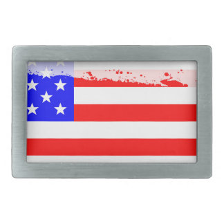 USA Flag Splash Belt Buckles