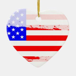 USA Flag Splash Ceramic Heart Decoration