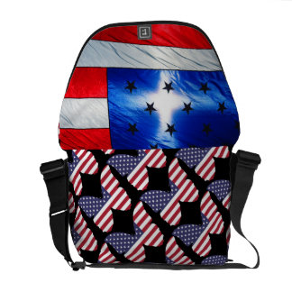USA Flag Stars Stripes Patriotic Personalize Messenger Bag