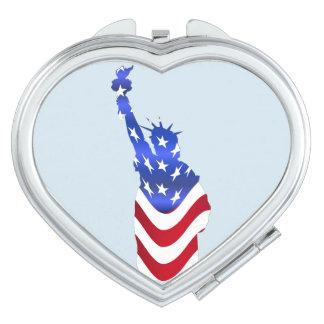 Usa Flag Statue of Liberty Heart Compact Mirror