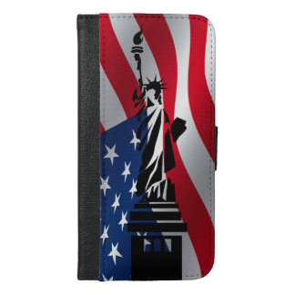 Usa flag statue of liberty iPhone 6/6s plus wallet case