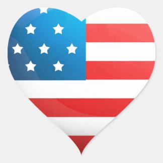 """""""USA Flag"""" Heart Sticker"""
