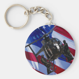USA FLAG SWAT HELICOPTER BASIC ROUND BUTTON KEY RING