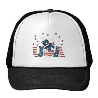 Usa Flag Text Mesh Hat