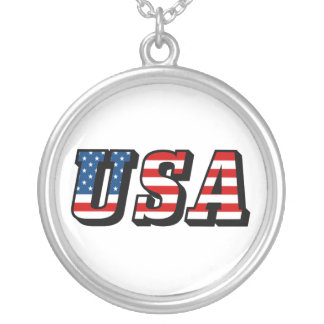 USA Flag Text Necklace