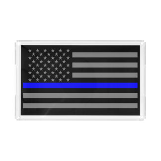 USA Flag Thin Blue Line Symbolic Remembrance on a Acrylic Tray