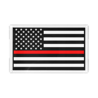 USA Flag Thin Red Line Symbolic Memorial on a Acrylic Tray