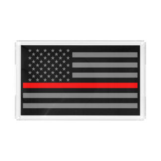 USA Flag Thin Red Line Symbolic Remembrance on a Acrylic Tray
