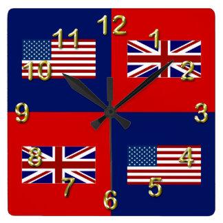 USA Flag & UK Flag Pattern Wallclocks