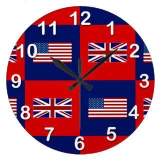 USA Flag & UK Flag Pattern Large Clock