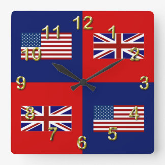 USA Flag & UK Flag Pattern Square Wall Clock