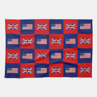 USA Flag & UK Flag Pattern Tea Towel