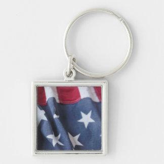USA flag vertical premium square keychain