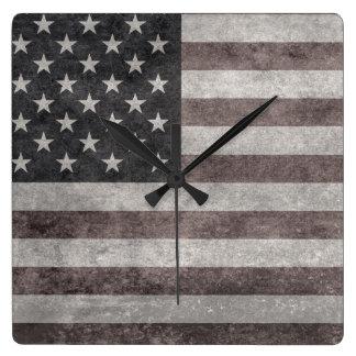 USA Flag, Vintage Retro American Flag On Canvas Wallclock