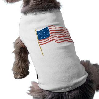 USA Flag Waving on Flagpole Shirt