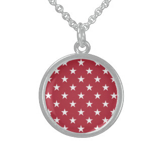 USA Flag White Stars on Flag Red Round Pendant Necklace
