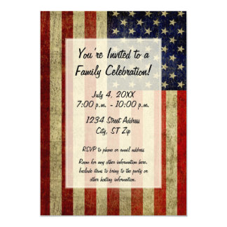 "USA Flag with a vintage look Party 5"" X 7"" Invitation Card"