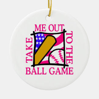 USA Flag with Baseball Christmas Ornament