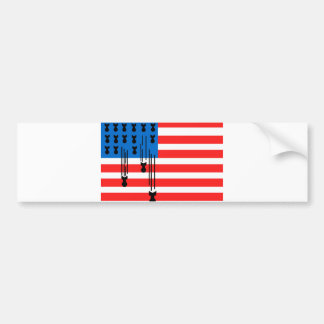 USA Flag with Falling Bombs Bumper Sticker