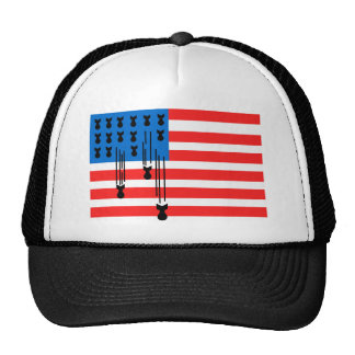 USA Flag with Falling Bombs Cap