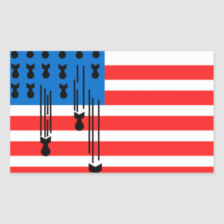 USA Flag with Falling Bombs Rectangular Sticker