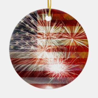 USA Flag with Fireworks Grunge Texture Round Ceramic Decoration