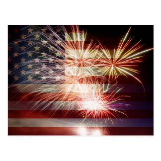 USA Flag with Fireworks Postcard