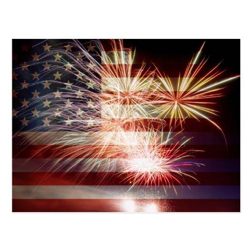 USA Flag with Fireworks Postcard