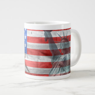USA Flag with Soldiers and Statue of Liberty Large Coffee Mug