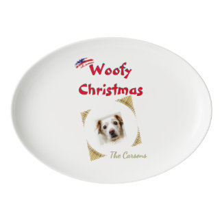 USA Flag Woofy Christmas Pet Template Porcelain Serving Platter