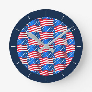USA flags Round Clock