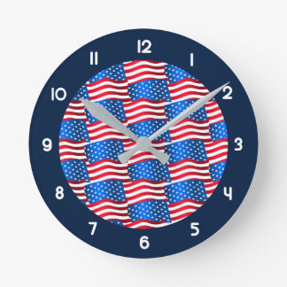 USA flags Round Clock