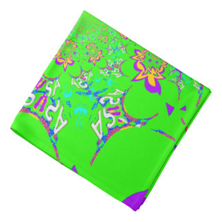 USA Floral Monogram Pattern art Bandanna