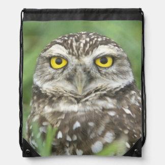 USA, Florida, Cape Coral, Burrowing Owl (Athene Drawstring Bag