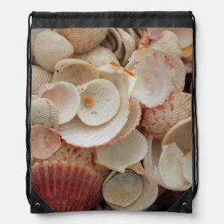 USA, Florida. Close Up Of Shells On Santa Rosa Drawstring Bag