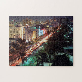 USA, Florida, Miami Beach, Ocean Drive, Art Deco 2 Jigsaw Puzzle