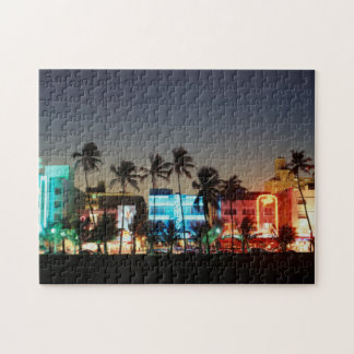 USA, Florida, Miami Beach, Ocean Drive, Art Deco Jigsaw Puzzle