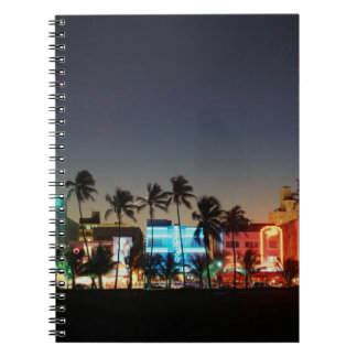 USA, Florida, Miami Beach, Ocean Drive, Art Deco Spiral Notebook