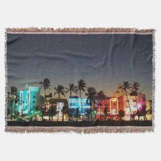 USA, Florida, Miami Beach, Ocean Drive, Art Deco Throw Blanket