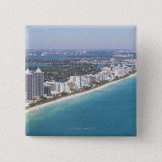 USA, Florida, Miami, Cityscape with beach 15 Cm Square Badge