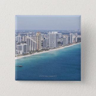 USA, Florida, Miami, Cityscape with beach 2 15 Cm Square Badge