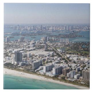 USA, Florida, Miami, Cityscape with beach 3 Large Square Tile