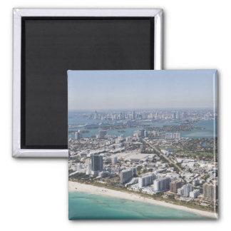 USA, Florida, Miami, Cityscape with beach 3 Magnets