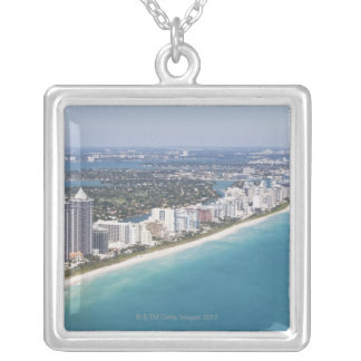 USA, Florida, Miami, Cityscape with beach Silver Plated Necklace