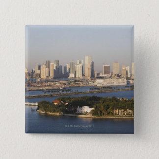 USA, Florida, Miami, Cityscape with coastline 15 Cm Square Badge