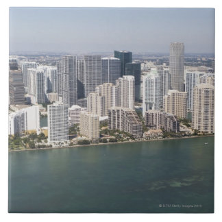 USA, Florida, Miami, Cityscape with coastline 2 Large Square Tile