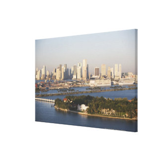 USA, Florida, Miami, Cityscape with coastline Canvas Print